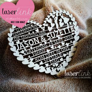 laser cut heart wedding invitations