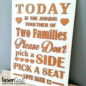 laser cut wooden sign board