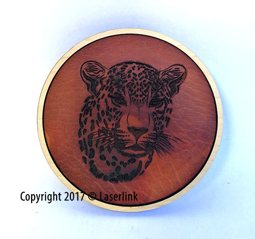 laser engraved leather coaster