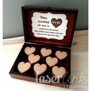 wooden guest book box with hearts