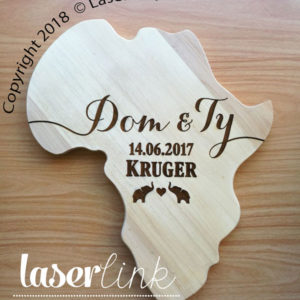 Engraved Africa Shape cutting board