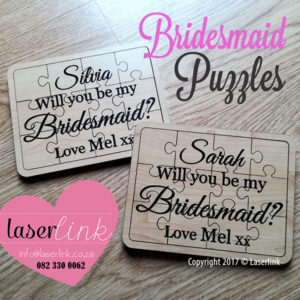Bridesmaid Puzzles - Custom Engraved on Wood