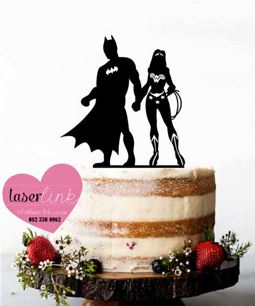 batman wonder woman cake topper
