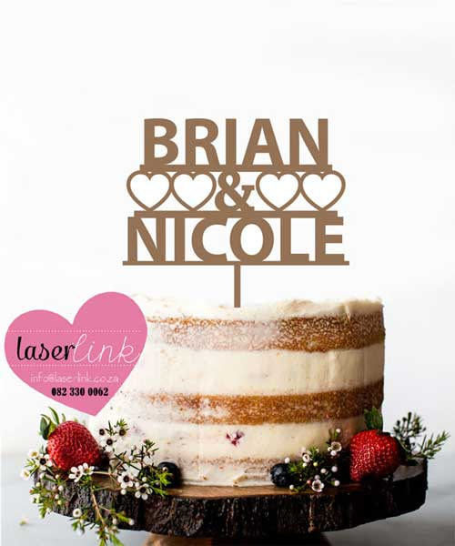 names hearts cake topper