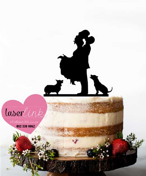 bride groom dogs cake topper