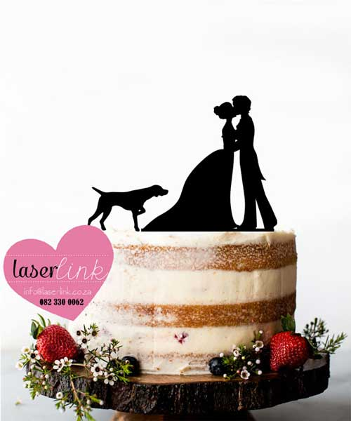 bride groom dog cake topper