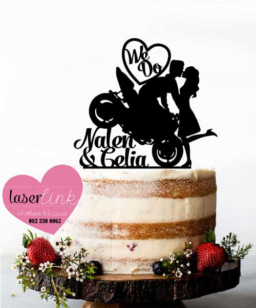 motorbike kissing cake topper