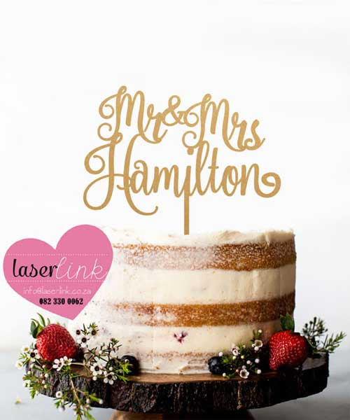 surname wedding cake topper gold