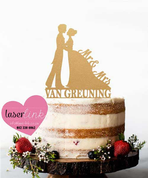 gold bride groom cake topper