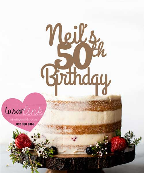 50th birthday wooden cake topper