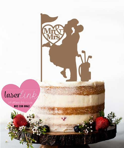bride groom golf cake topper