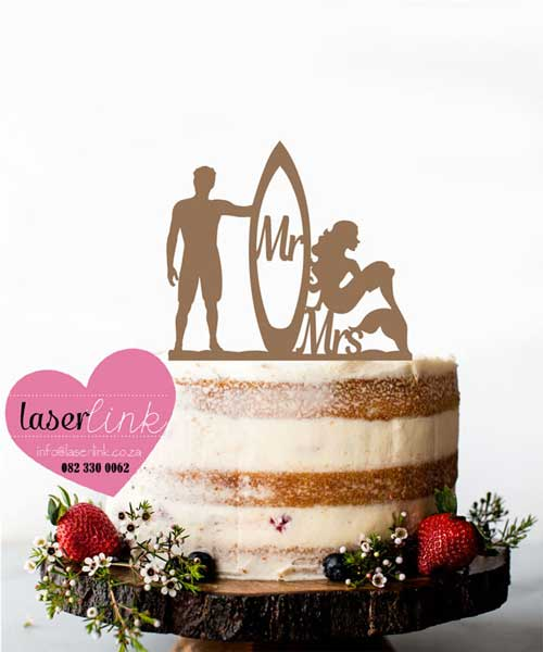 surfer mermaid cake topper