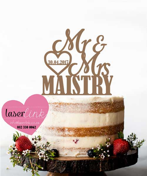 heart surname cake topper
