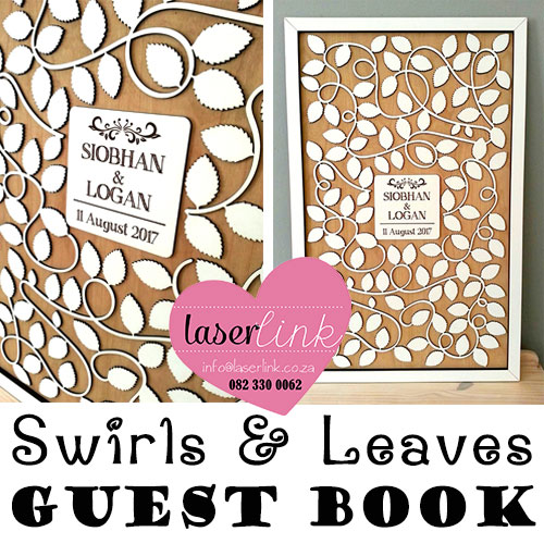 Swirls and Leaves wedding guest book