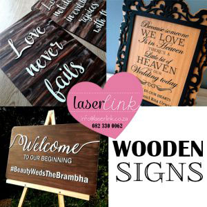 wooden wedding sign boards