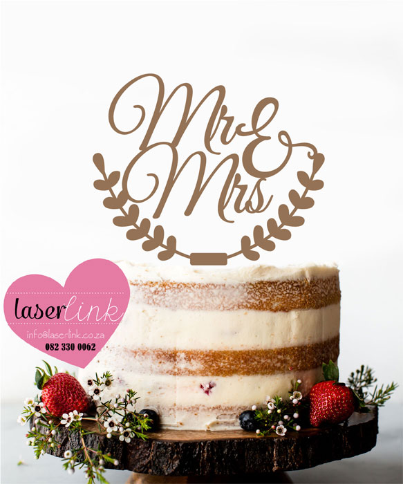mr mrs wooden wreath cake topper wedding