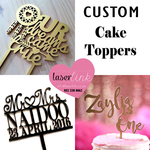 laser cut custom cake toppers