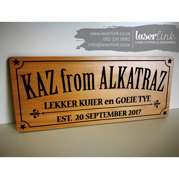 engraved pub sign board